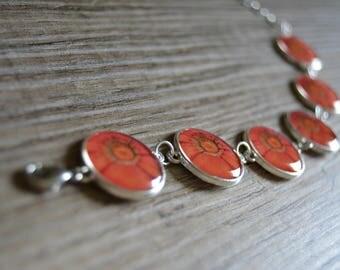 Bracelet silver adjustable size in orange cabochon flower of Gerbera