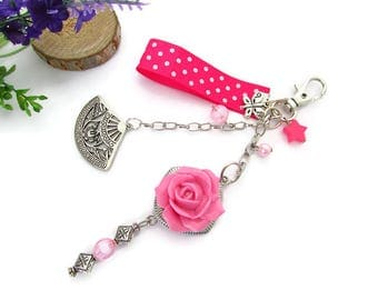 Bag charm or mirror of car pink cold porcelain (fimo), fan, beads, butterfly, polka dots Ribbon