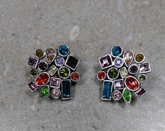 EXTREMELY GORGEOUS Vintage Patricia Lock CONFETTI multi-colored stone earrings