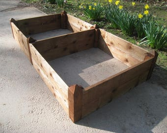 Large Raised Beds/Double Sturdy Wooden Garden Planters/Planting Boxes/Herb Planters/Vegetable Growspace/Pressure Treated FSC Sourced Timber