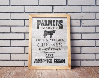 Farmers Market Sign, Farmers Market Poster, Farmhouse Decor, Farmhouse Sign, Farmhouse Kitchen, Marketplace Decor