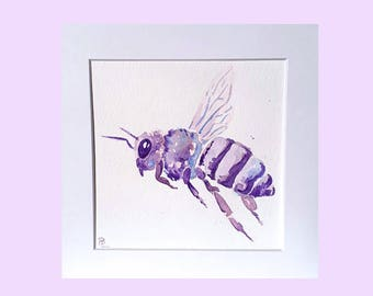 Bee artwork, painting of bees, insect painting, original watercolour painting, conservatory art, dining room art, purple painting