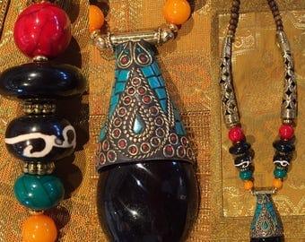 Ethnic black Locket necklace