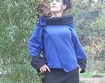 Reversible fleece jacket black and blue