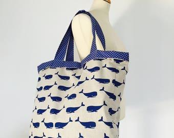 Whale print canvas tote bag