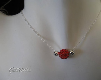 """Necklace """"double red crystal bead Silver"""""""