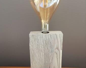 """Lamp wood """"Eureka"""" big bulb light  LED , driftwood effect, wood lamp , wood led , design wood , design lamp"""