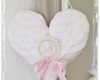 Beautiful shabby chic pink and white heart