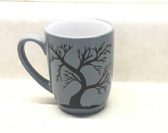 Ceramic gray mug, black acrylic tree painting, baked and sealed