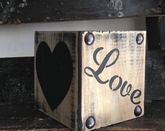 Wooden Heart Block/Valentine Blocks/Heart Decor/Farmhouse Decor