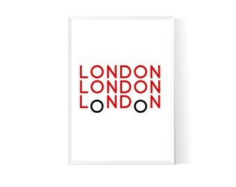 London wall decor| London wall art| London print| London bus| Nursery london| Nursery bus| London home decor| London art| London poster