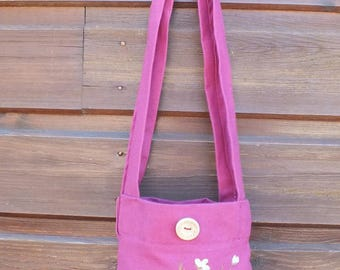 fuschia, Apple blossoms painted bag