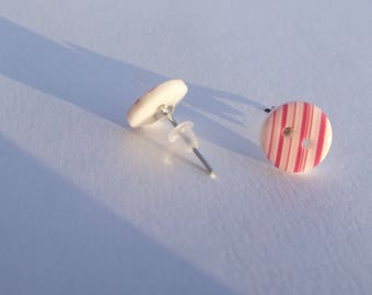 Small Stud Earrings pink and white stripes print acrylic buttons