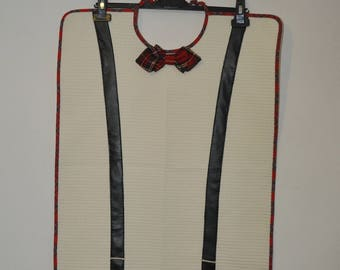 Ecru adult bib with red Plaid bowtie and Suspenders