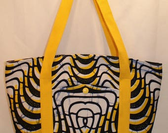 Tote bag yellow African wax fabric