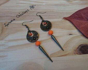 Pair of pierced ear ethnic bronze, orange