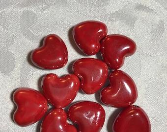 Red ceramic heart bead