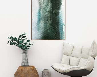 Green White Watercolor Wash Print Modern Abstract Art Minimalistic Printable Artwork Poster Green Watercolour Home Wall Decor Contemporary