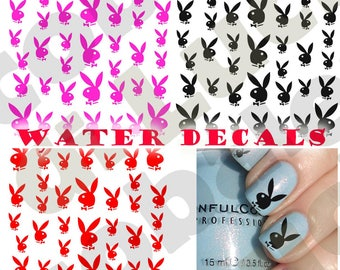 Nail art stickers etsy set water decals play boy rabbit nail nail art stickers tattoo stickers in 3 variants of prinsesfo Gallery