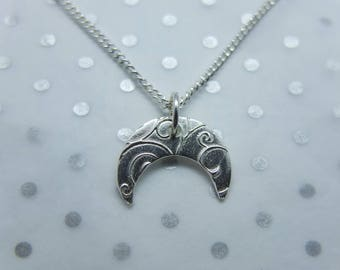 Handmade Silver Moon Swirl Pendant
