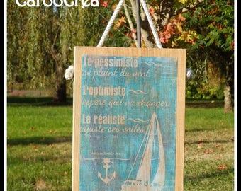 Painting wood, nautical, marine decoration, nautical decor, sea, transfer on wood transfer photo frame