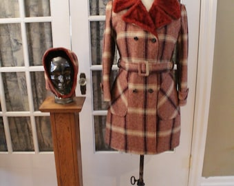 1970's Faux Fur Lined Wool Trench Coat