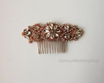 Wedding Hair Comb Rhinestone with Rose Gold Wedding Hair Comb Hair Comb Bridesmaid's Hair Comb Flower Girl Hair Headband Comb