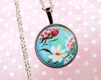 Flower turquoise glass cabochon necklace