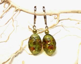Earrings Murano green and Golden