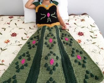 Princess Dress Blanket, Frozen Blanket Crochet Pattern, Anna Dress Blanket, Frozen Princess Crochet Pattern,Girl Blanket Pattern, Child size