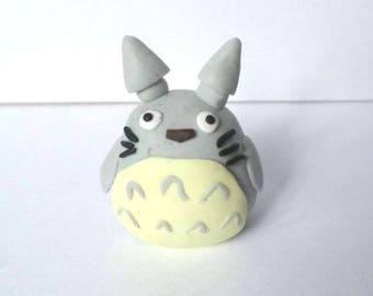 Grey Totoro polymer clay figure