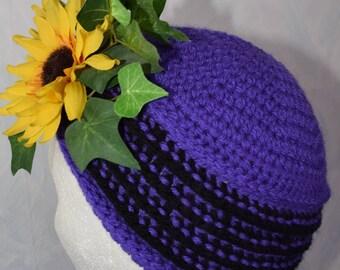 Turban - Mütze im 20ziger Jahre Style / Damen Mütze / KU 55 - 59 cm / lila-schwarz / crochet hat woman / crochet Turban