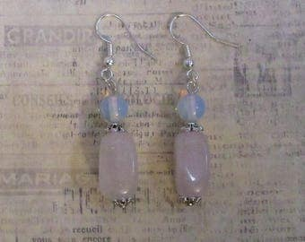 rose quartz and moonstone earrings