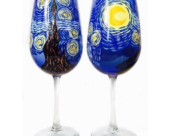 Van Gogh Starry Night Inspired Hand Painted Wine Glasses Set of 2 Unique Gift Birthday Gift Wedding gift Engagement Gift Anniversary Gift