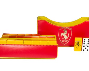 Ferrari Jumbo Domino Double Six, 5 Coats 100% Acrylic. Faux Leather Case