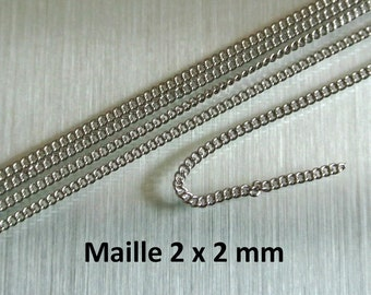 One meter of very fine silver mesh chain open link, 2 x 2 mm