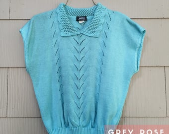 Women's Blue Knit Sweater with Collar