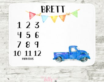 Vintage Truck Baby Milestone Blanket, Old Truck Milestone Blanket, Blue Truck Baby Blanket, Personalized Baby Blankie, Monthly Baby Tracker