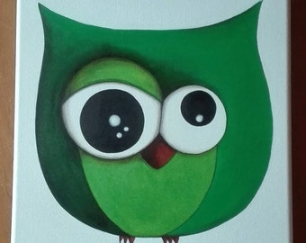 OWL green painting contemporary