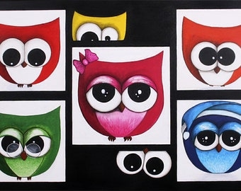 Contemporary painting of colorful owls