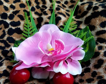 Pink Orchid with Cherries Hair Flower