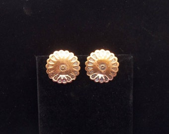 Copper Disc Clip On Earrings