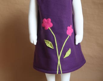 Spring - Violet dress girl 2 years, fleece, lined