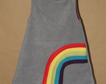 Rainbow - Grey dress girl 2 years, fleece, lined