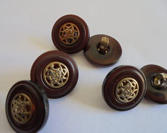 Set of 6 buttons round 15 mm Brown and gold