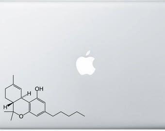 THC( Marijuana)  Molecule Decal for Laptop, or bumper sticker