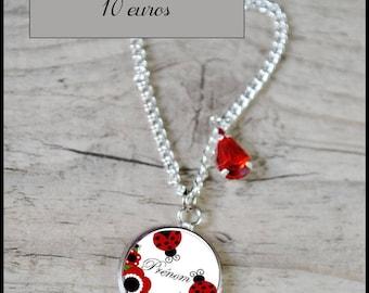 Personalized name - child's Ladybug necklace