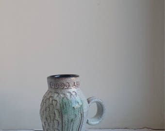 """Charming Vintage Clive Brooker Studio Pottery """"Good Luck"""" Jug with Thistle Pattern"""