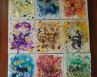 Abstract Pokemon Eevee Evolutions Paintings