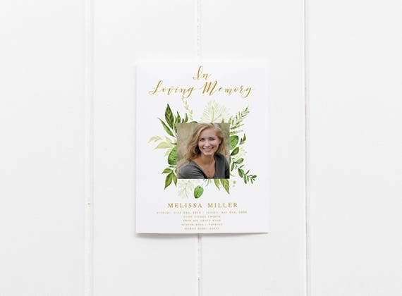 Floral Greenery Funeral Program Template Obituary Template